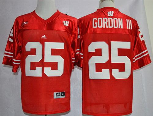 Wisconsin Badgers #25 Melvin Gordon III Red Jersey