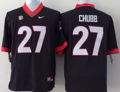Georgia Bulldogs #27 Nick Chubb 2014 Black Limited Kids Jersey
