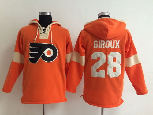 2014 Old Time Hockey Philadelphia Flyers #28 Claude Giroux Orange Hoodie