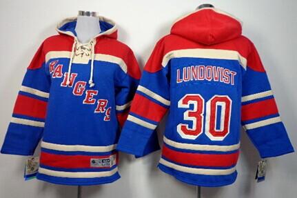 Old Time Hockey New York Rangers #30 Henrik Lundqvist Light Blue Kids Hoodie