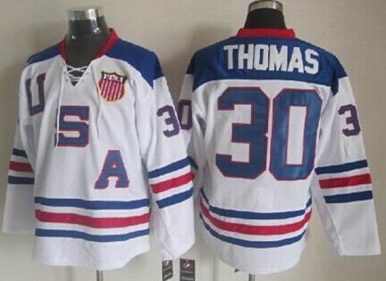 2010 Olympics USA #30 Tim Thomas White Jersey