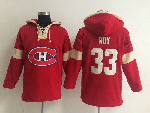 2014 Old Time Hockey Montreal Canadiens #33 Patrick Roy Red Hoodie