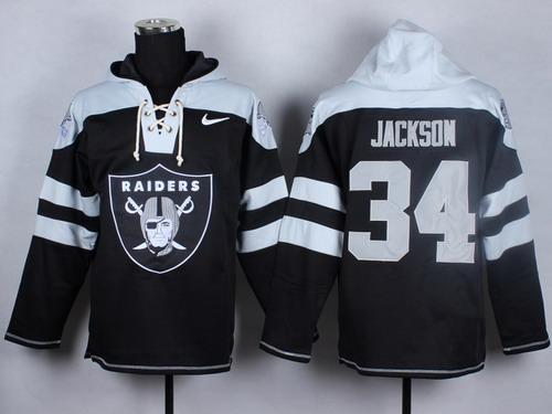 Nike Oakland Raiders #34 Bo Jackson 2014 Black Hoodie