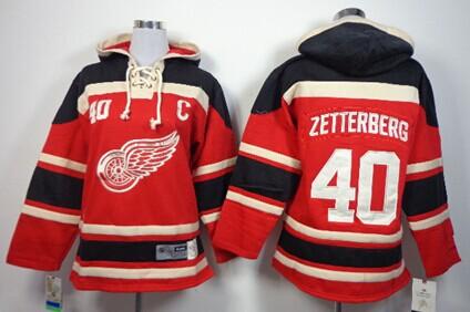 Old Time Hockey Detroit Red Wings #40 Henrik Zetterberg Red Kids Hoodie
