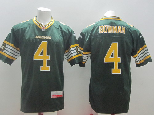 CFL Edmonton Eskimos #4 Adarius Bowman Green Jersey
