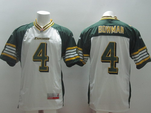 CFL Edmonton Eskimos #4 Adarius Bowman White Jersey