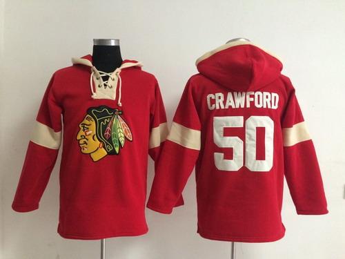 2014 Old Time Hockey Chicago Blackhawks #50 Corey Crawford Red Hoodie