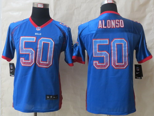 Nike Buffalo Bills #50 Kiko Alonso Drift Fashion Blue Kids Jersey