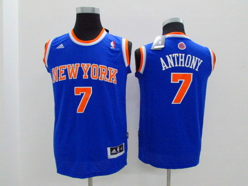 New York Knicks #7 Carmelo Anthony Blue Kids Jersey