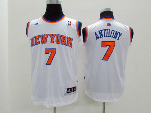 New York Knicks #7 Carmelo Anthony White Kids Jersey