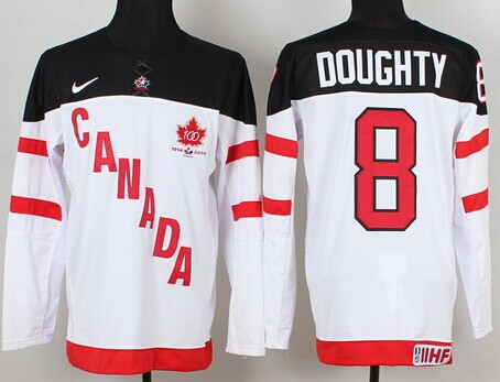 2014/15 Team Canada #8 Drew Doughty White 100TH Jersey