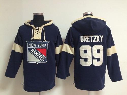 2014 Old Time Hockey New York Rangers #99 Wayne Gretzky Navy Blue Hoodie