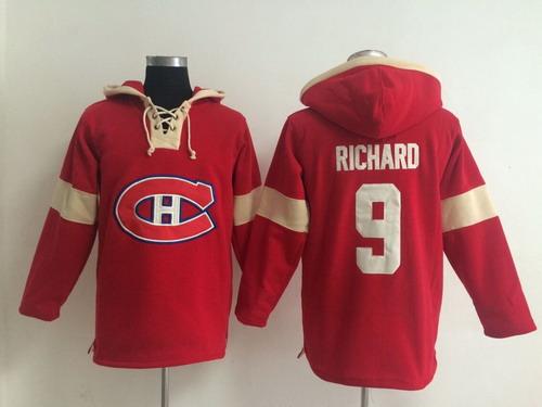 2014 Old Time Hockey Montreal Canadiens #9 Maurice Richard Red Hoodie
