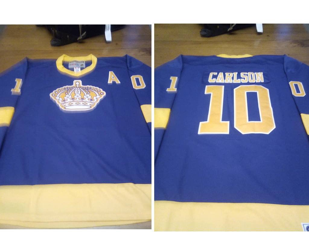 Men's Los Angeles Kings #10 Carlson Purple Yellow CCM Throwback Jersey