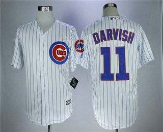 Men's Chicago Cubs #11 Yu Darvish White Cool Base Jersey