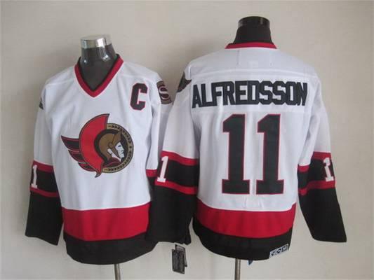 Men's Ottawa Senators #11 Daniel Alfredsson 1997-98 White CCM Vintage Throwback Jersey