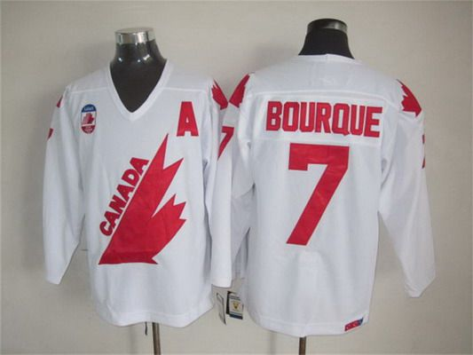 Men's Team Canada #7 Ray Bourque 1991 Olympic White CCM Vintage Throwback Jersey