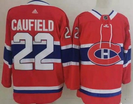 Men's Montreal Canadiens #22 Cole Caufield Red Stitched NHL Jersey