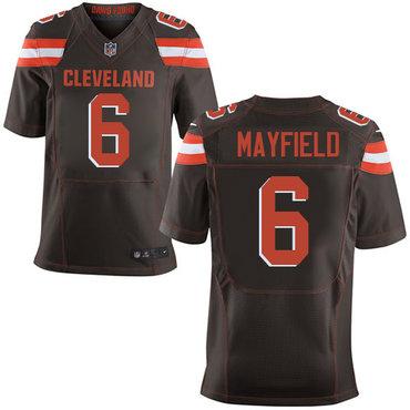Nike Cleveland Browns #6 Baker Mayfield Brown 2018 NFL Draft Pick Elite Jersey