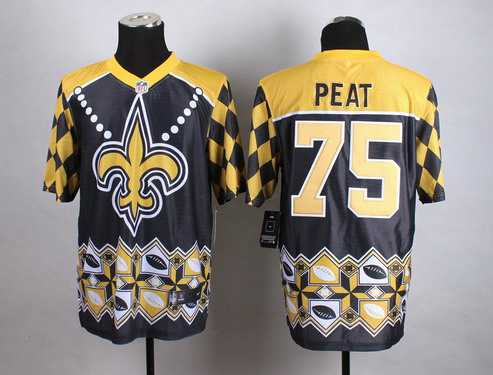 Nike New Orleans Saints #75 Andrus Peat 2015 Noble Fashion Elite Jersey