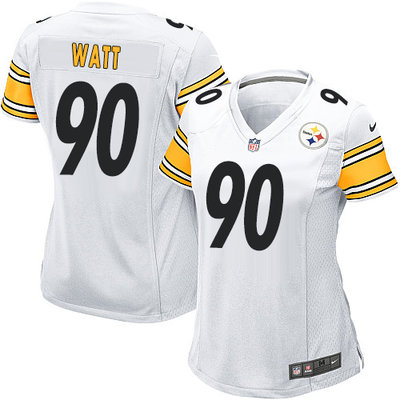 Nike Steelers #90 T. J. Watt White Women's Stitched NFL Elite Jersey