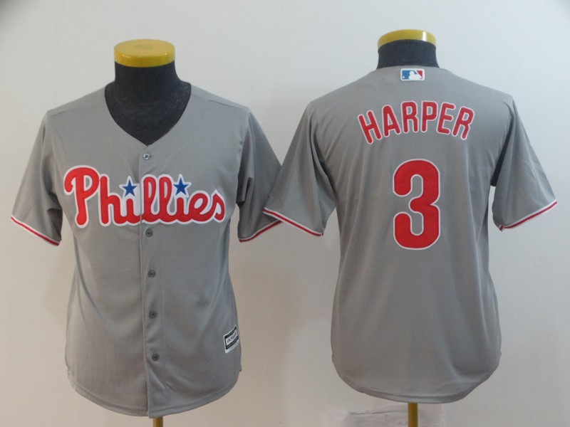 Youth Philadelphia Phillies #3 Bryce Harper Gray Home Stitched MLB Majestic Cool Base Jersey