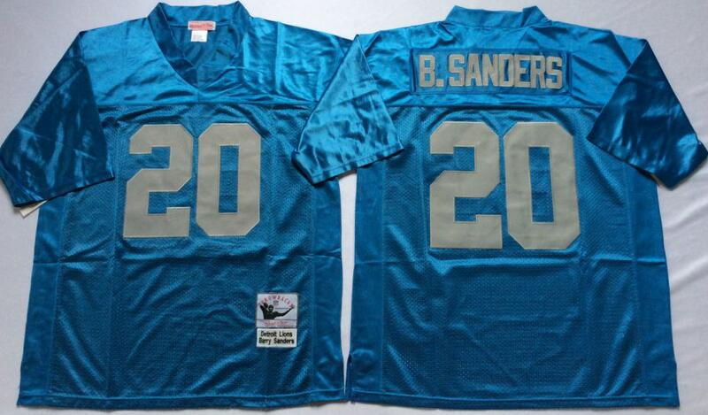 Detroit Lions #20 Barry Sanders blue Throwback Jersey