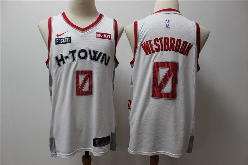 Men's Houston Rockets #0 Russell Westbrook White 2020 Nike ...