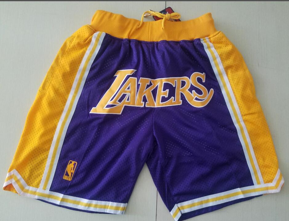 Men's Los Angeles Lakers Purple Yellow With Lakers Nike Swingman Printed NBA Shorts