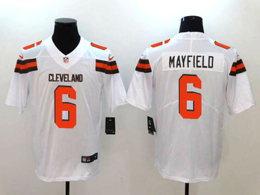 Nike Cleveland Browns #6 Baker Mayfield White 2018 NFL Draft Pick Elite Jersey