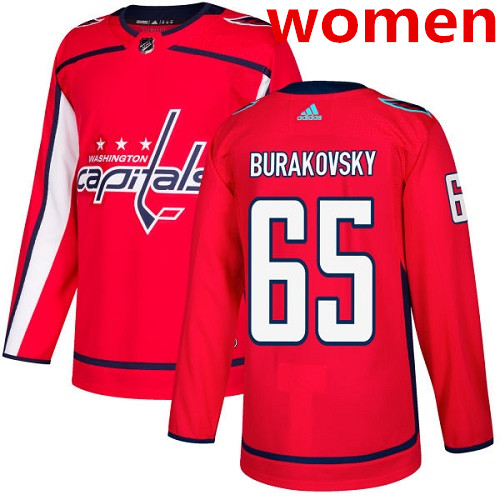 Women's Adidas Washington Capitals #65 Andre Burakovsky Red Home Authentic Stitched NHL Jersey