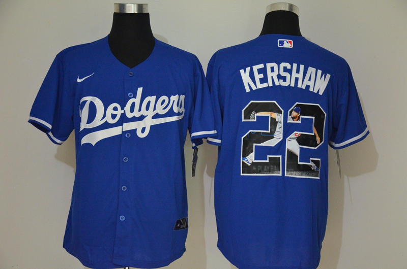 Men's Los Angeles Dodgers #22 Clayton Kershaw Blue Unforgettable Moment Stitched Fashion MLB Cool Base Nike Jersey