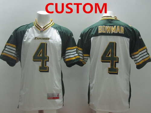 CFL Edmonton Eskimos Custom White Jersey