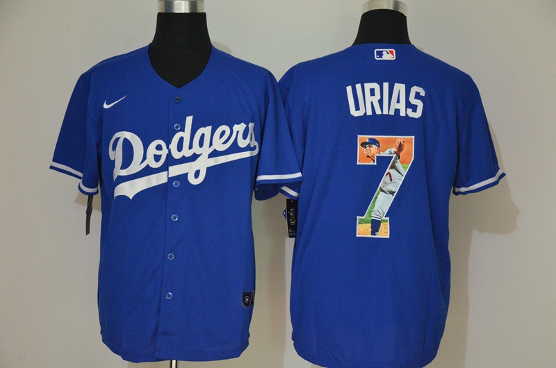 Men's Los Angeles Dodgers #7 Julio Urias Blue Unforgettable Moment Stitched Fashion MLB Cool Base Nike Jersey