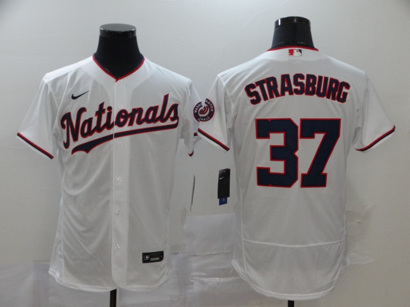 Men's Washington Nationals #37 Stephen Strasburg White Stitched MLB Flex Base Nike Jersey