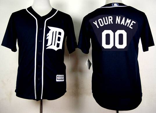 Men's Detroit Tigers Customized 2015 Navy Blue Jersey