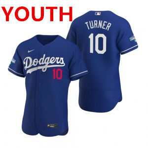 Youth Los Angeles Dodgers #10 Justin Turner Royal 2020 World Series Champions Jersey